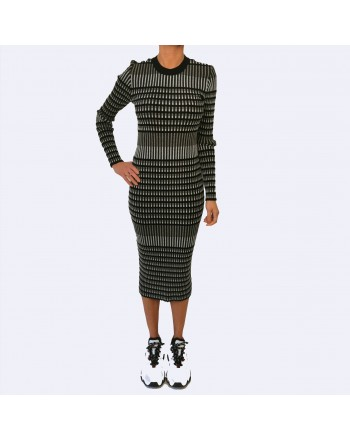 MCQ BY ALEXANDER MCQUEEN - Abito a costine in cotone stretch - Darkest Black/Bianco