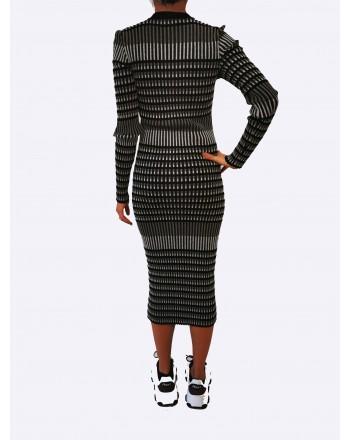 MCQ BY ALEXANDER MCQUEEN - Ribbed stretch cotton dress - Darkest Black/Bianco