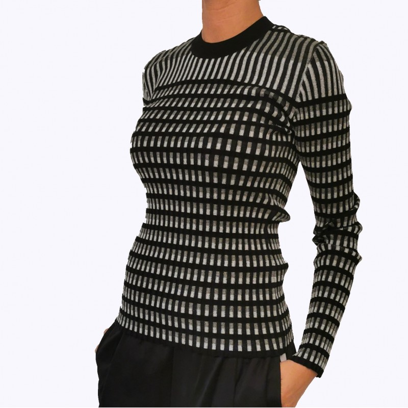 MCQ BY ALEXANDER MCQUEEN - Ribbed knit in cotton blend -  Darkest black/White