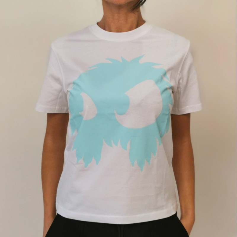 MCQ by ALEXANDER MCQUEEN  -T-Shirt in Cotone Band Tee - Bianco/Acqua