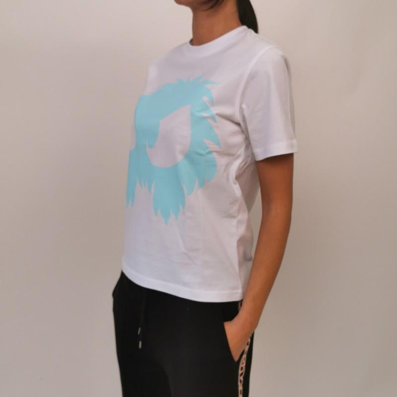 MCQ by ALEXANDER MCQUEEN  -T-Shirt in Cotone Band Tee - Bianco/Acqua