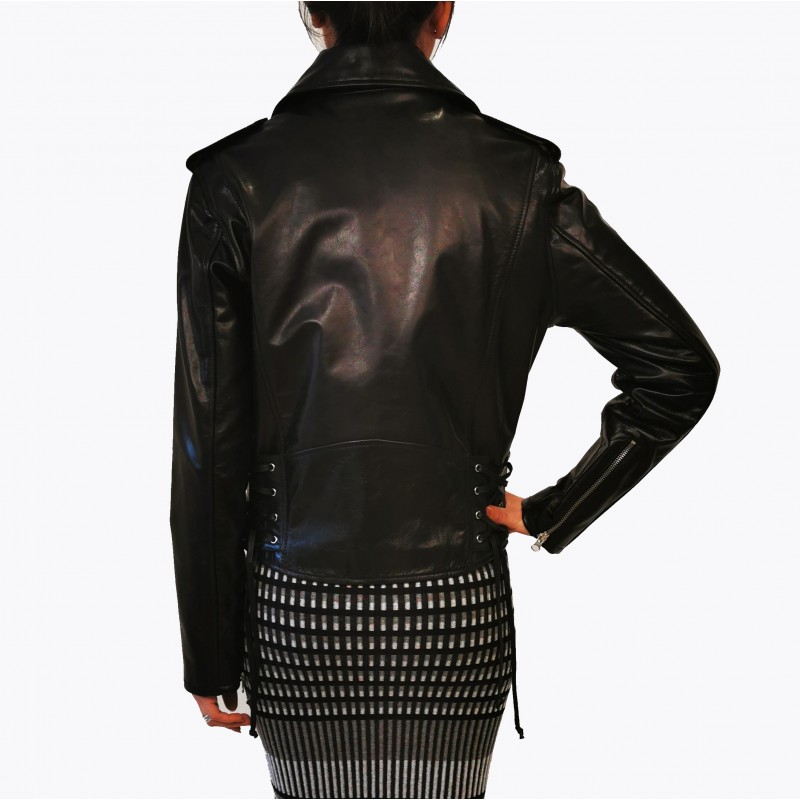 MCQ BY ALEXANDER MCQUEEN -  Leather  Biker Jacket  -Darkest Black