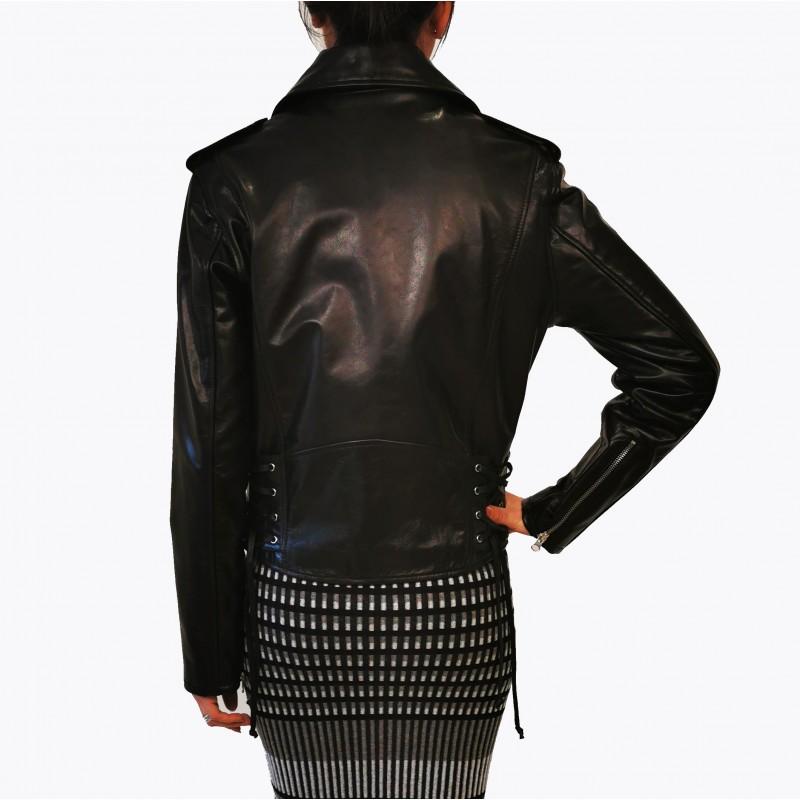 MCQ BY ALEXANDER MCQUEEN -  Leather  Biker Jacket  -Darkest Black