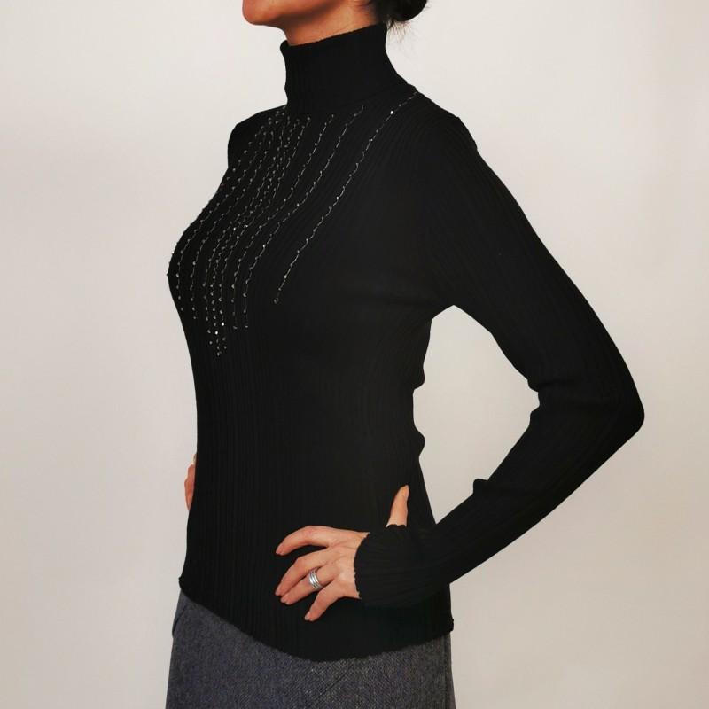 BLUMARINE - Wool Ribbed Knit with Rhinestones - Black