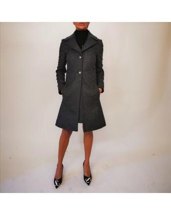 BLUMARINE - Cappotto in Lana con Tasche Cuore - Grigio Melange