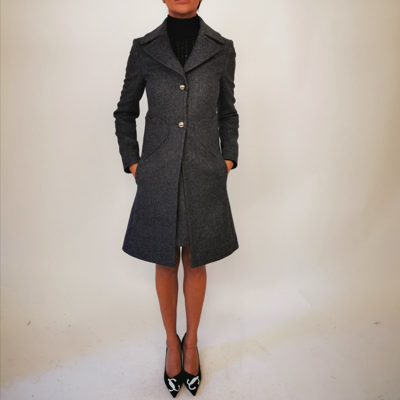 BLUMARINE - Wool Coat with Heart Pockets - Blended Grey