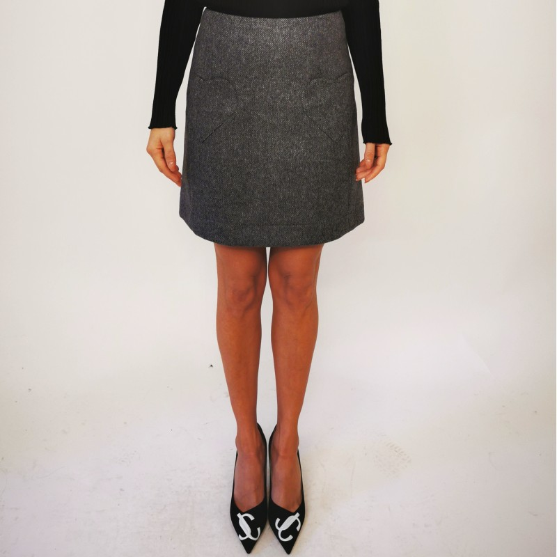 BLUMARINE - Wool Skirt with Heart Pockets - Blended Grey
