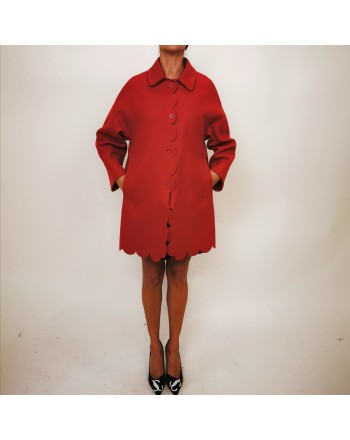 RED VALENTINO - Wool Cloth Coat - Deep Red