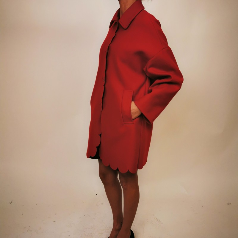 RED VALENTINO - Cappotto in Panno di Lana - Deep Red