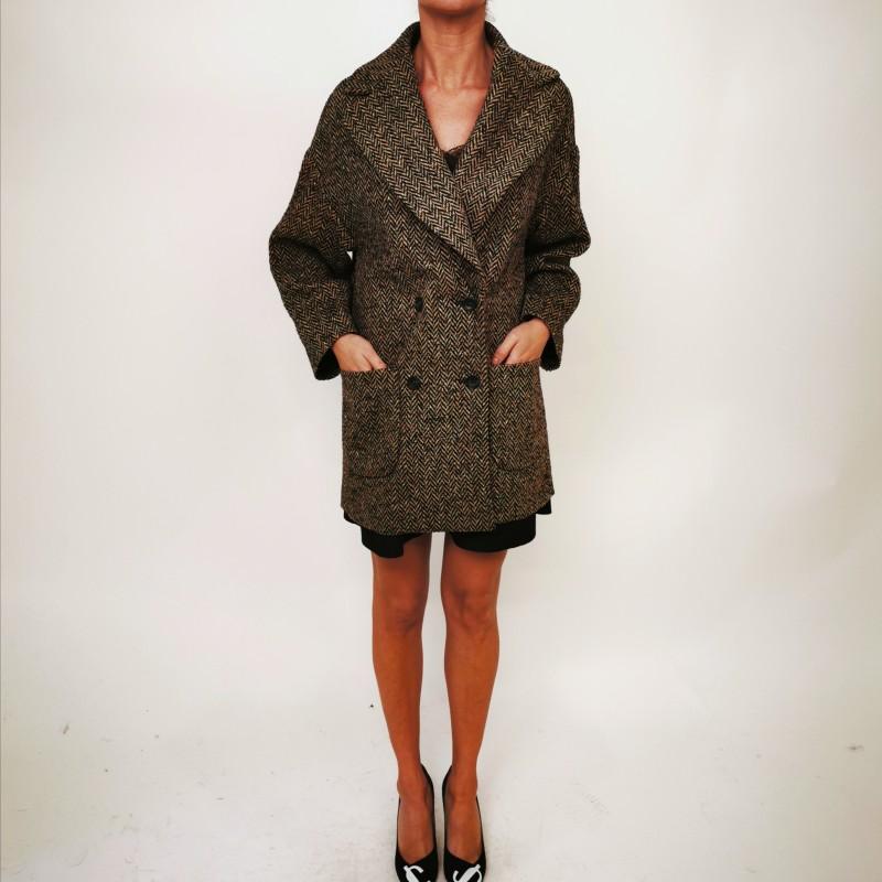 RED VALENTINO - Macro Fabric Coat - CAMEL