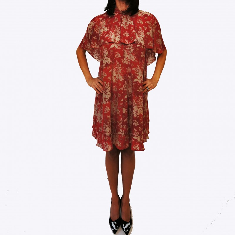 RED VALENTINO - Flora Printed Dress - Varnish Red