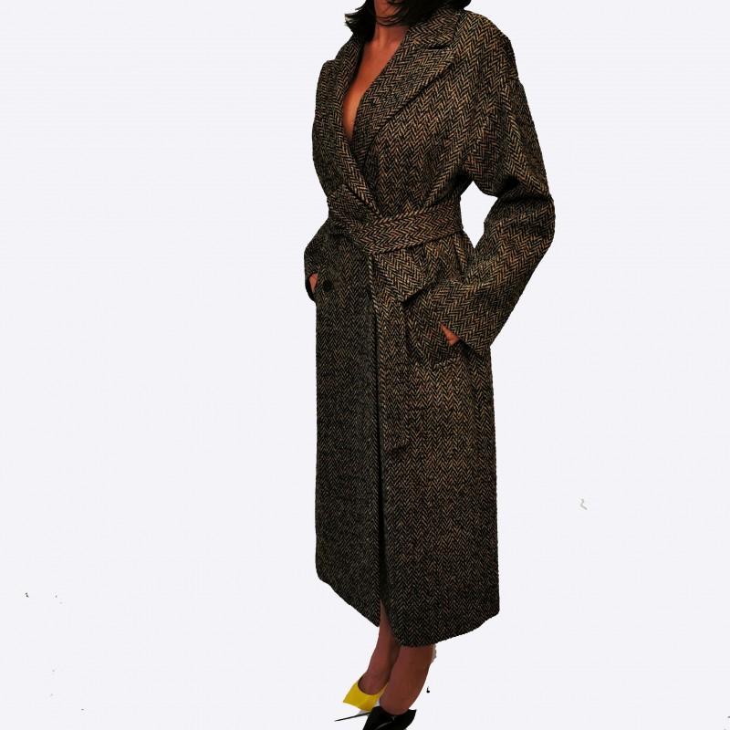 RED VALENTINO - Wool Harringbone Coat- Camel