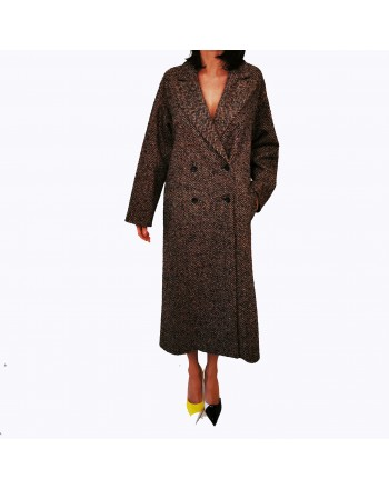 RED VALENTINO - Wool Harringbone Coat- Camel