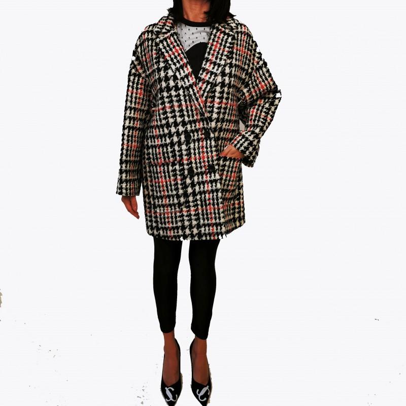 RED VALENTINO - Pied de Poule Wool Coat - Black