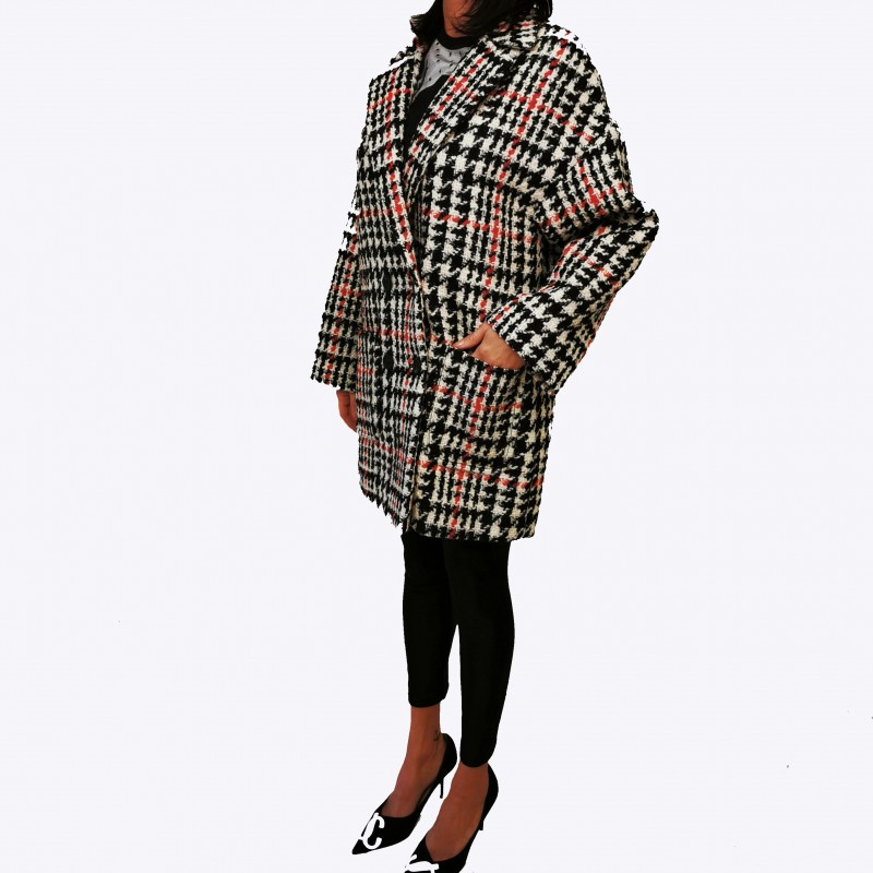 RED VALENTINO - Pied de Poule Wool Coat - Black
