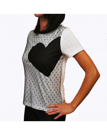 RED VALENTINO - Tulle Detailed T-Shirt- White/Black