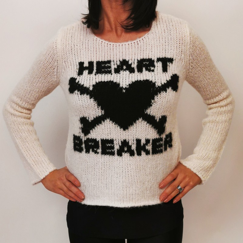 RED VALENTINO - Maglia in Lana Heart Breaker - Avorio/Nero