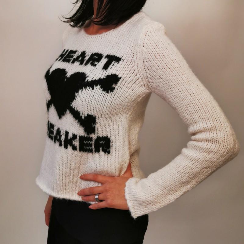 RED VALENTINO- Wool Knit Heartbreaker - Ivory/Black