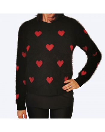 RED VALENTINO -  Wool Heart- knittred Knit - Black