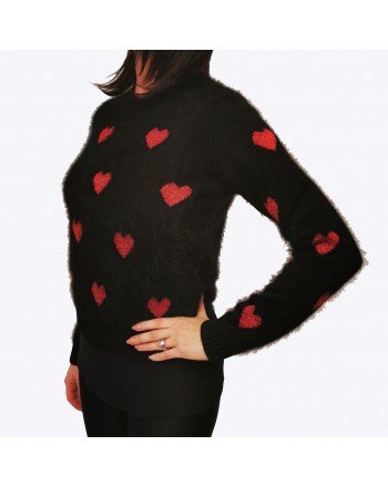RED VALENTINO -  Wool Heart- knitted Knit - Black