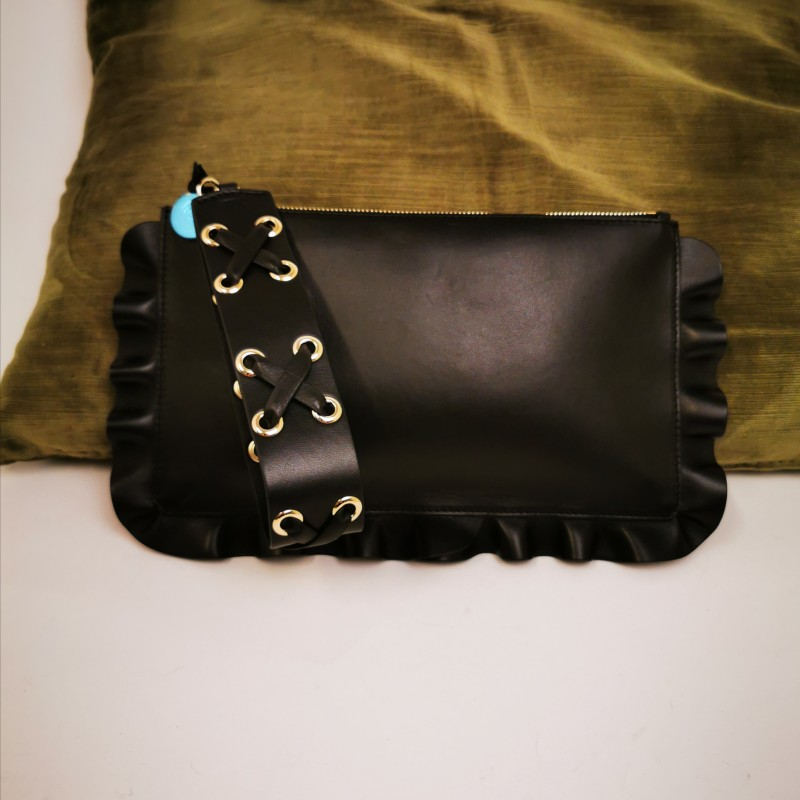RED VALENTINO - Leather Clutch with Frills bordered with Frills- Black