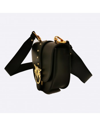 PINKO - GO ROUND Leather Bag - Black