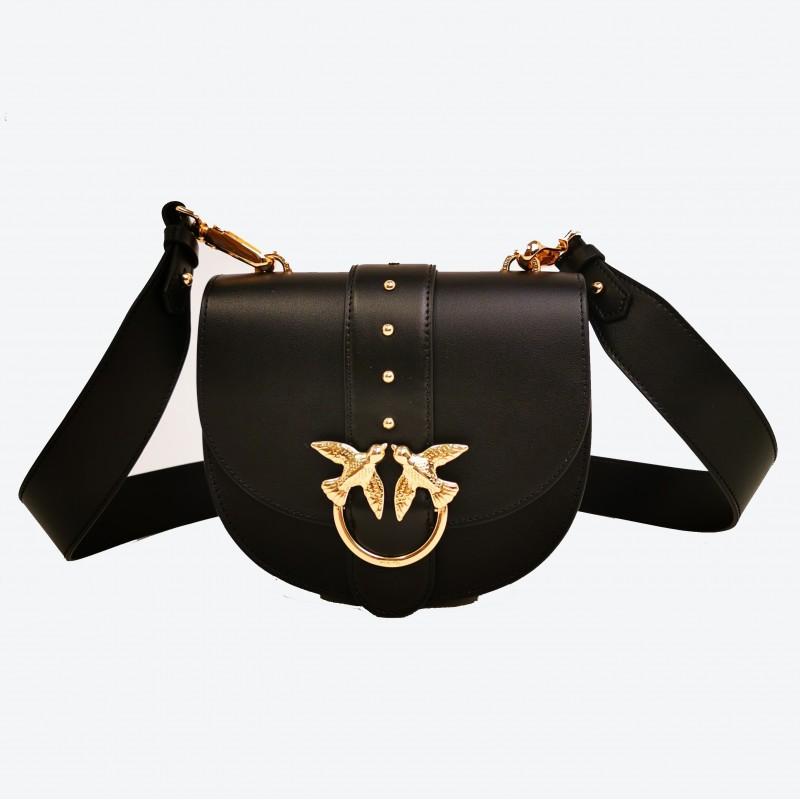 PINKO - GO ROUND Leather Bag - Black
