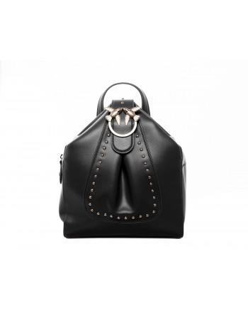 PINKO - Leather and Silk ALKAN Backpack - Black