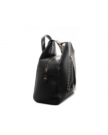 PINKO - Leather and Silk ALKAN Backpack - Black