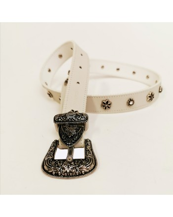 PINKO - Western -style JUNIN leather belt - White