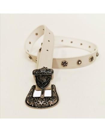 PINKO - Western -style JUNIN leather belt - White