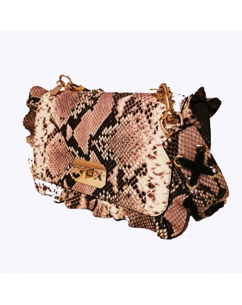 RED VALENTINO - Leather Python print bag - Rock/Black