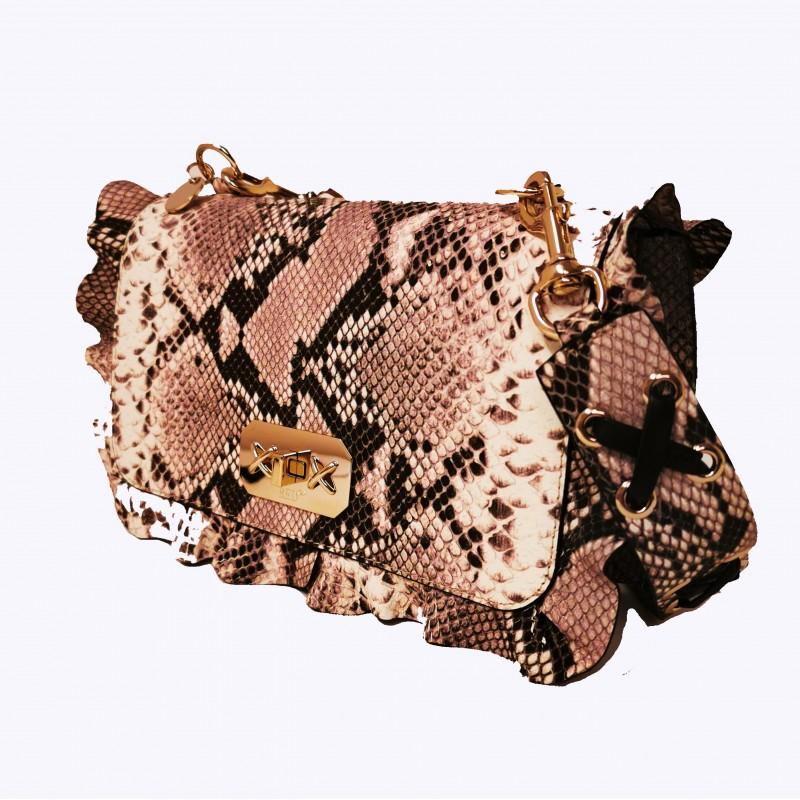 RED VALENTINO - Leather Python print bag - Rock/Black