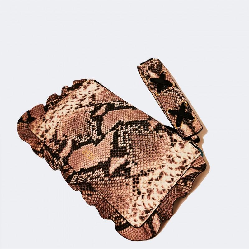 RED VALENTINO - Python print leather handbag - Rock/Black