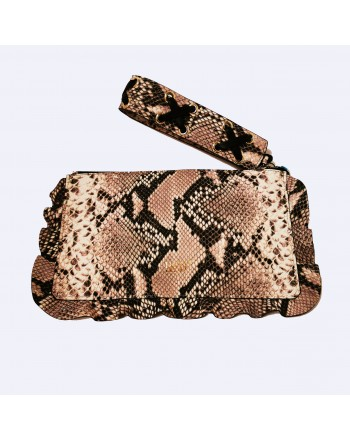 RED VALENTINO - Python print leather handbag - Rock/Black