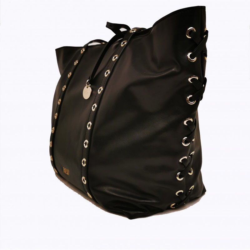 RED VALENTINO - Borsa Shopping in Pelle con Dettagli Metallici - Nero