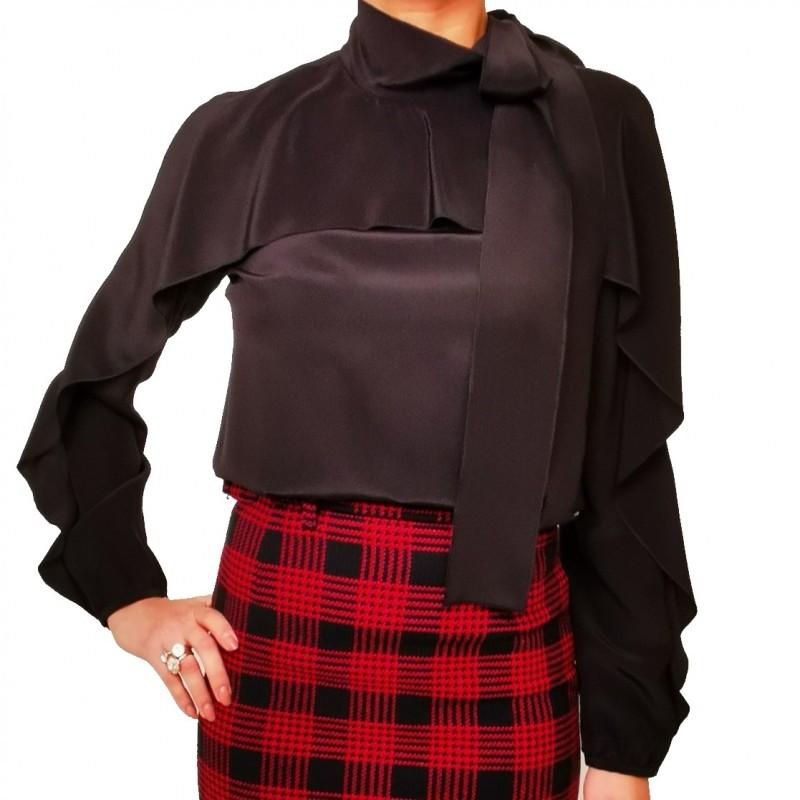RED VALENTINO - Camicia in seta con balza - Nero