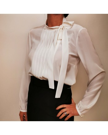 RED VALENTINO - Camicia in seta crepe de chine - Latte