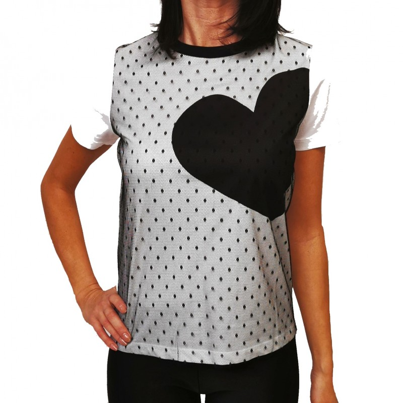 RED VALENTINO - T-Shirt con Dettagli in Tulle - Bianco/Nero