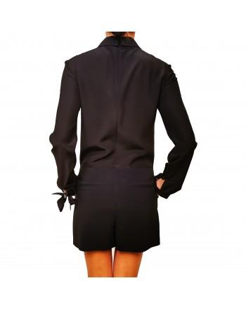 RED VALENTINO - Tuta con Shorts  con dettaglio in Pizzo - Nero