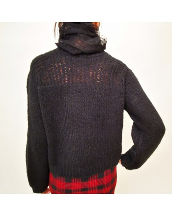 RED VALENTINO - Lace Detail Wool Knit - Black