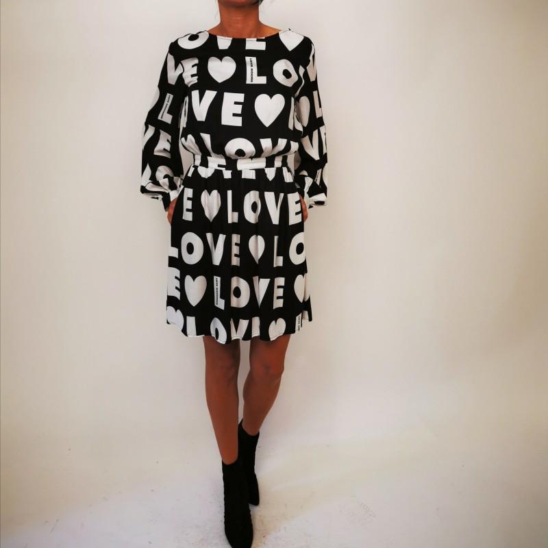 LOVE MOSCHINO - Abito in  Viscosa Stampa LOVE - Nero/Bianco