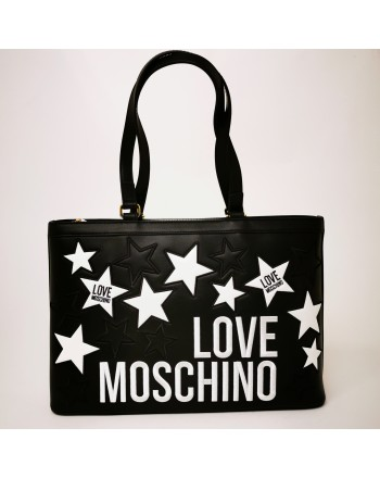 LOVE MOSCHINO - Shopping leather bag with quilted stars - Black