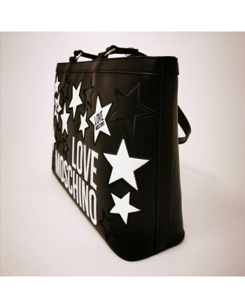 LOVE MOSCHINO - Borsa Shopping in pelle con stelle trapuntate - Nero