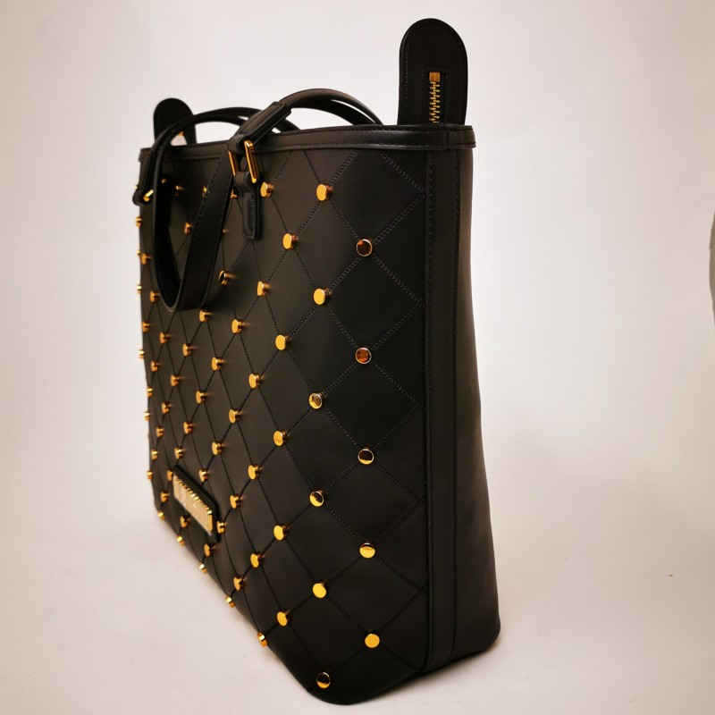 LOVE MOSCHINO - Bag with golden studs in leather - Black
