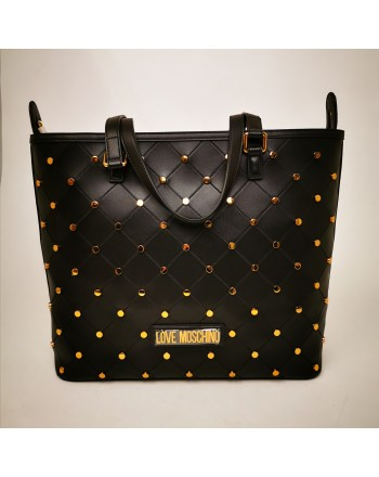 LOVE MOSCHINO - Borsa con borchie dorate in pelle - Nero