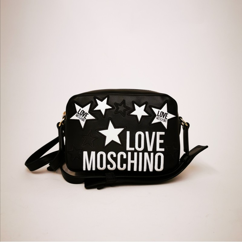 LOVE MOSCHINO - Leather bag with quilted stars - Black