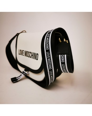 LOVE MOSCHINO - Leather shoulder bag - White/Black