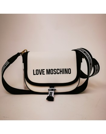 LOVE MOSCHINO - Borsa a spalla in pelle - Bianco/Nero