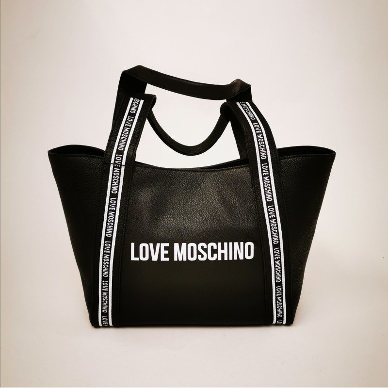 LOVE MOSCHINO - Leather shopping bag - Black